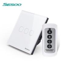 SESOO estándar UE Control remoto interruptor 3 pandilla 1 manera inalámbrico de Control remoto de la pared Interruptor táctil de cristal de vidrio de Panel LIVOLO