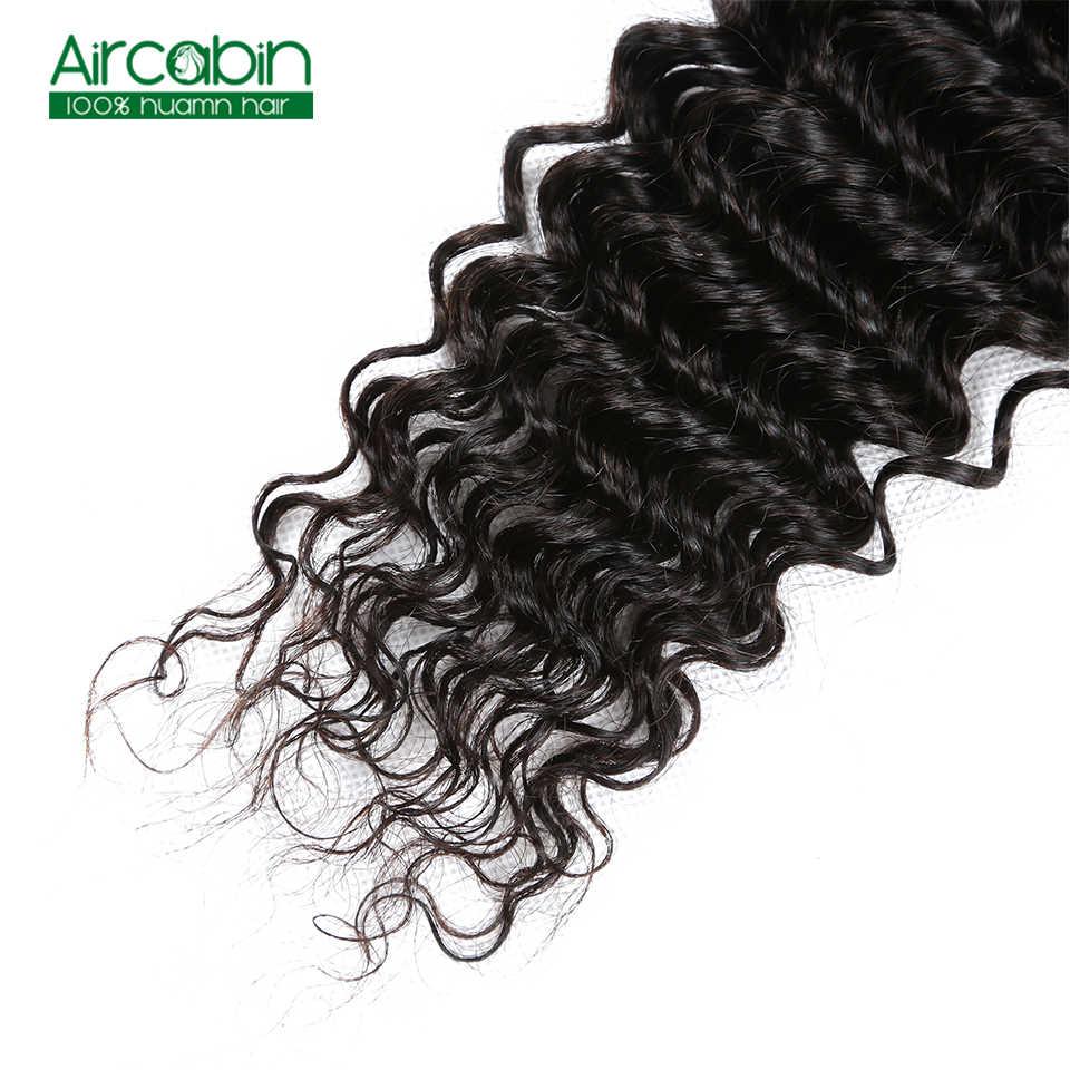 Aircabin Бразильские глубокие волнистые человеческие волосы 3 пучка с 4x4 синтетическое закрытие шнурка не Реми глубокие пучки волнистых волос с закрытием Tissage