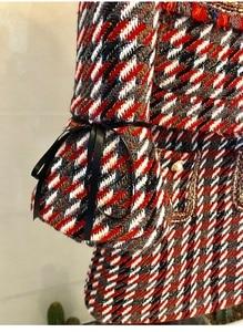Image 5 - 2019 otoño Plaid Tweed 2 piezas conjunto invierno mujeres elegante Flare manga perla botón chaqueta abrigo + alta cintura lana mini falda trajes