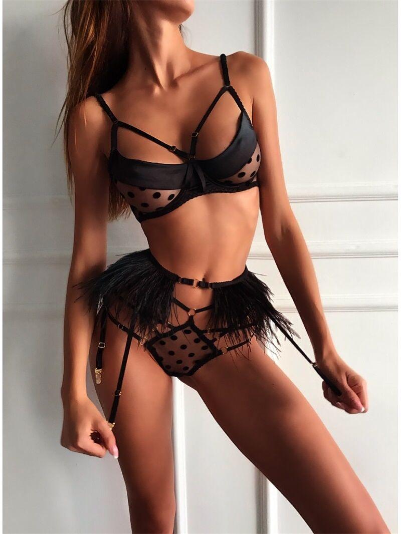 Sexy Lingerie Women Babydoll Hollow Lace Polka Dot Black 3PCS Bra G-string Feather Belt Lingerie Erotic Underwear High Quality
