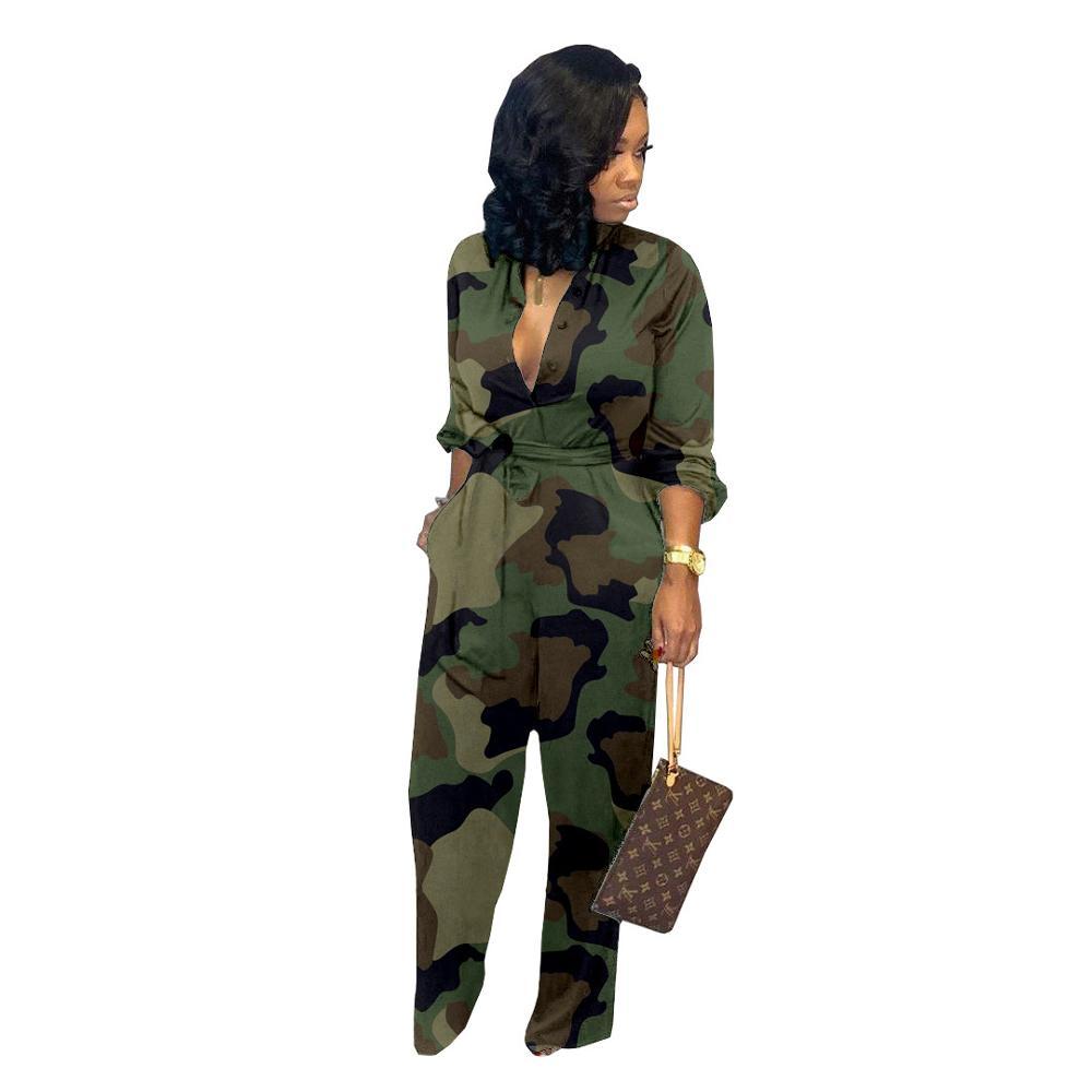 Echoine women bodysuit Pocket wide-leg pants camouflage jumpsuit female painted Overalls with belt autumn winter rompers ladies