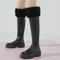 Women Cow Leather High Heel Stretchy Knee High Military Boots Round Toe Platform Oxfords Shoes Rabbit Fur Winter Warm Pumps Shoe