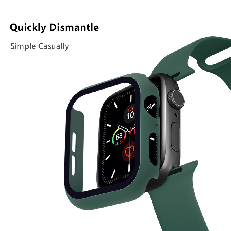 Glass+case For Apple Watch series 5 4 3 2 44mm 40mm 42mm 38mm Tempered bumper Screen Protector+cover for iWatch case Accessories 3