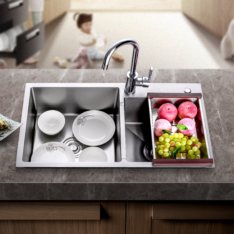 King Sanitary Ware Kitchen Washing Basin Handmade Pots 304 Stainless Steel Sink Set Thick Single Double Sink Manufacturers Whole