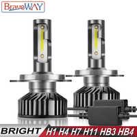 BraveWay LED H1 H4 H7 H8 H11 HB3 HB4 LED Light Bulbs H4 Headlight Bulb Motorcycle 9005 9006 LED Lamps H1 Car Light H7 LED Canbus
