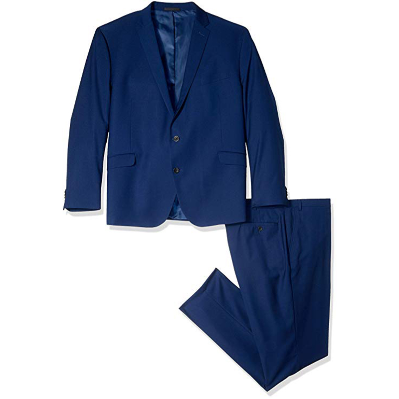 Modern Blue Notch Lapel Men Suit Groomsman Relaxed Loose Style Three Pieces Suite(Jacket+Pant)