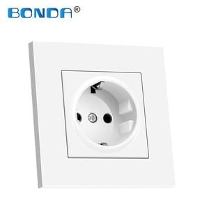 Image 5 - Bonda eu標準ホワイトブラックゴールドクリスタルガラスパネルac 110 250v 16A壁電源Socket16A 2100ma電気壁電源ソケット