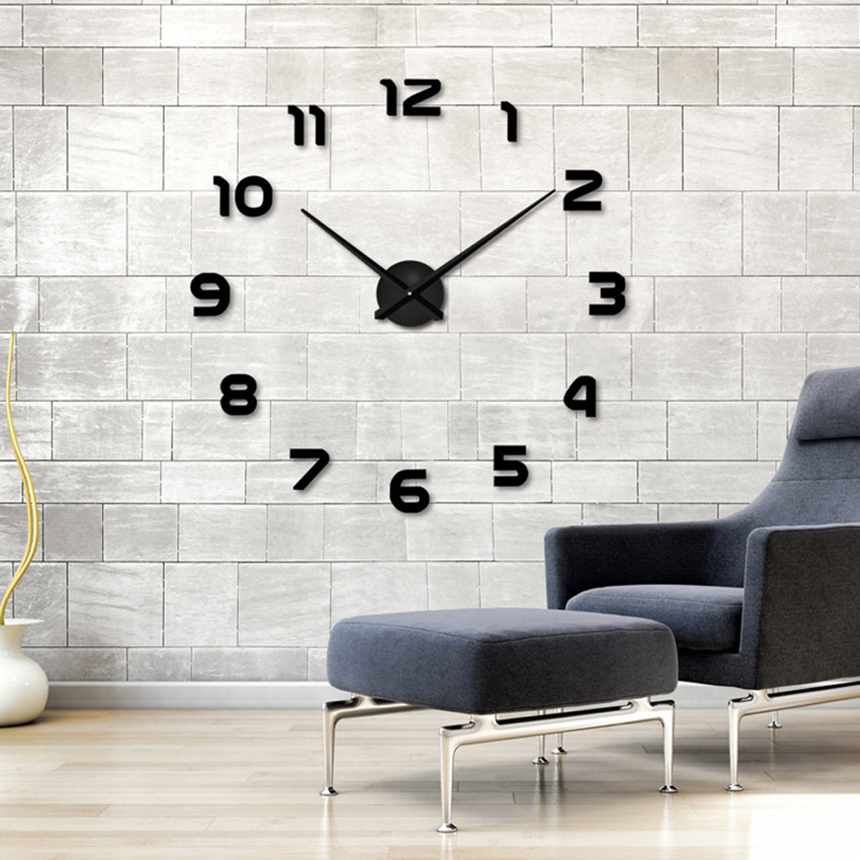 GJ 3D DIY Wall Clock Modern Design Saat Reloj De Pared Metal Art Clock Living Room Acrylic Mirror Watch Horloge Murale