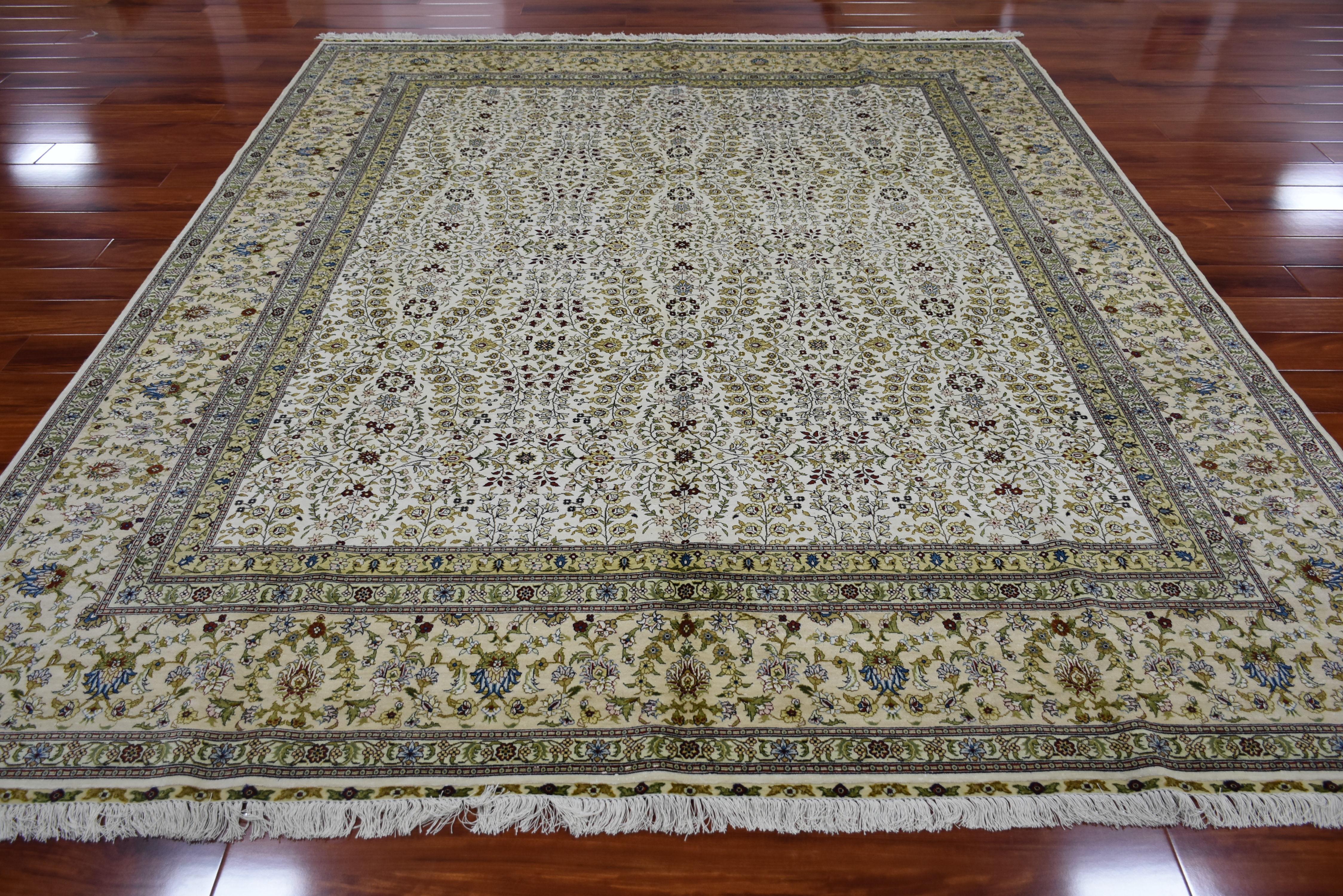8x10 pies alfombra de seda hecha a mano grande flor Alfombra tejida a mano