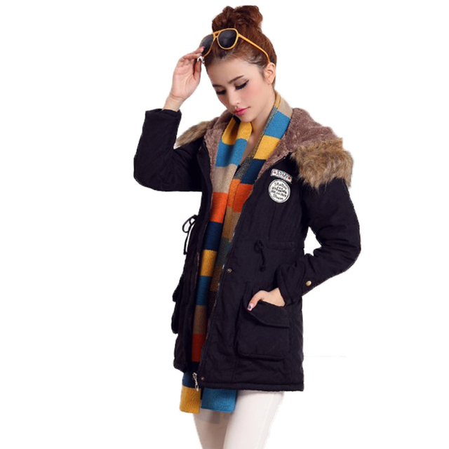 Fitaylor New Winter Women Jacket Medium-long Thicken Outwear Hooded Wadded Coat Slim Parka Cotton-padded Jacket Overcoat 5
