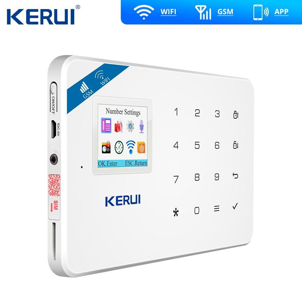 2019 neueste Kerui W18 Drahtlose Wifi GSM Hause Alarm Kit APP Control LCD GSM SMS Einbrecher Alarm System Für Home sicherheit