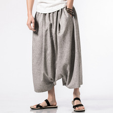 5XL Summer Men Yoga Pants Linen Indian Wide Leg Loose Harem Crotch Pant Bloomers Leisure Jogger Running Workout Athletic Pant women yoga set tai chi kungfu meditation uniforms linen chinese traditionl loose wide yoga pant yoga shirt casual outfit set