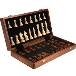 Luxo grande conjunto de xadrez de madeira crafted dobrável placa de xadrez de madeira jogo torneio de xadrez para adolescentes conjunto de xadrez bg50cs