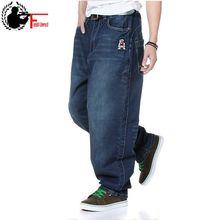 Pantalones vaqueros holgados de talla grande para hombre, pantalón bombacho recto, estilo Hip Hop, vaqueros de pierna ancha