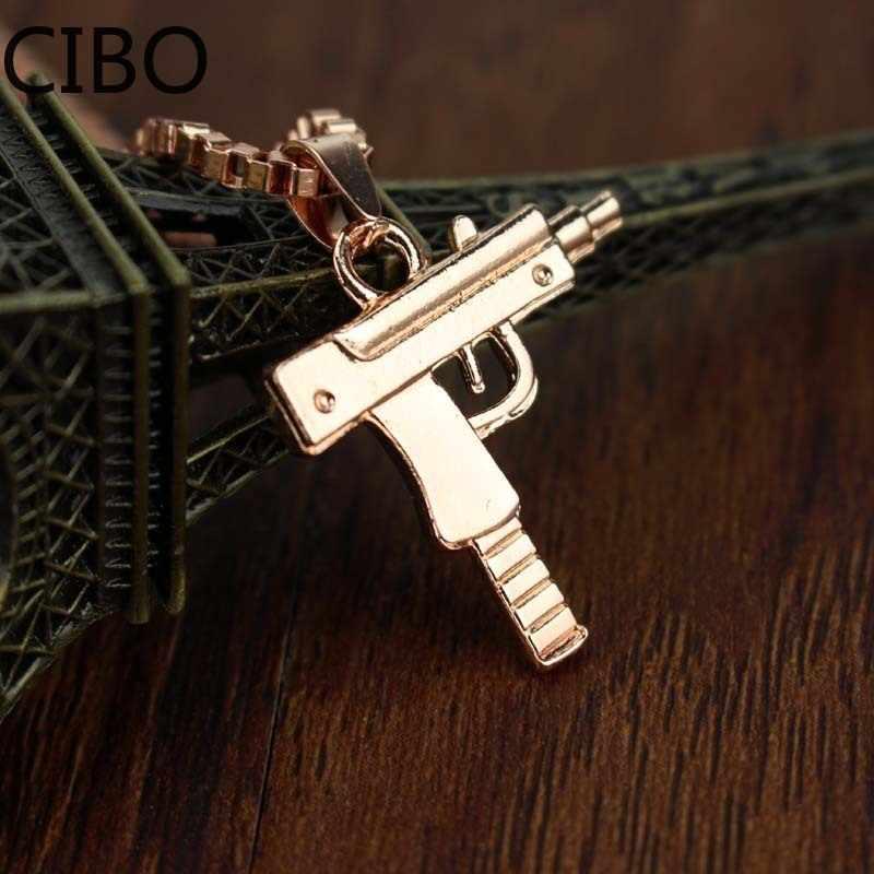 2019 חדש מתכת זהב אקדח אקדח עוזי תליון שרשרת גברים נשים HipHop גותי-רובה קישור שרשרת שרשרת נירוסטה תכשיטים