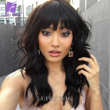 Wigs Bangs Human-Hair Luffywig Short Made-Wig Long-Scalp Full-Machine Women Brazilian