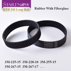 Startnow HTD 3M Series Closed Loop Timing Belt Transmission Belts 3M-225-10 Perimeter 255mm 384 Customized Width 8 9 10 15 17mm