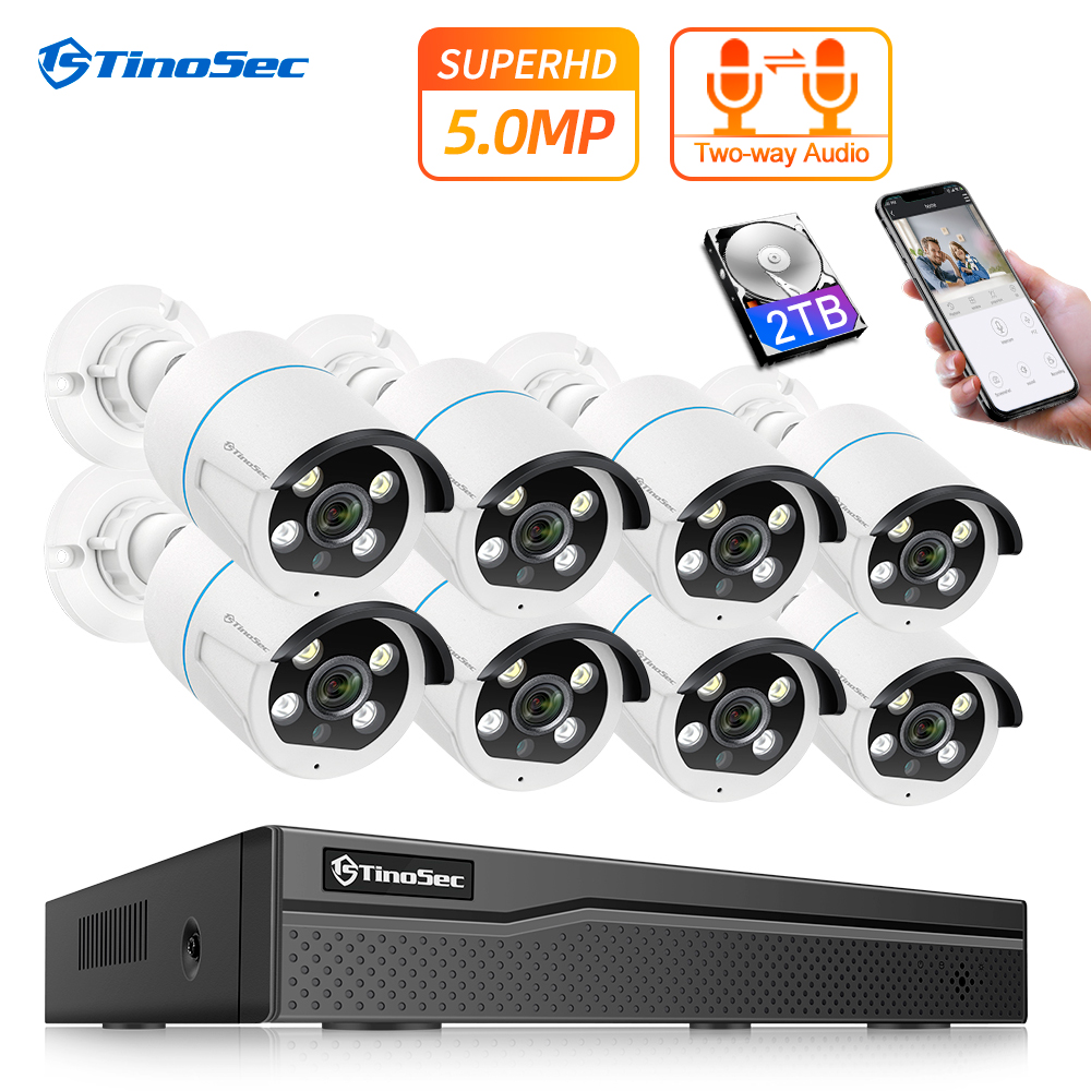 TinoSec 8CH 5MP CCTV Camera System H.265 Two Way Audio Outdoor POE IP Camera Waterproof Video Security Camera System Home Kit