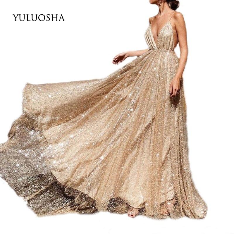 YULUOSHA 2020 Sexy V-Neck Sleeveless Spaghetti Straps Evening Dresses Party Prom Formal Gowns Long Sequin Vestido Robe De Soiree