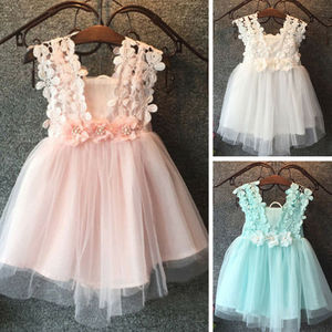 2-7 Years Baby Girl Ceremonies Dress Solid Green White Pink Tutu Dress For Girls Clothes Wedding Party Gown Princess Dress Girls(China)