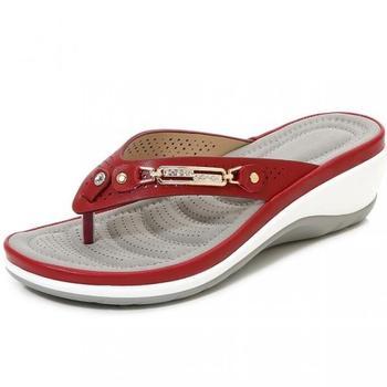 2021 klapki damskie letnie nowe mody metalowe guziki slajdy buty klinowe plażowe sandały damskie poza platformą wypoczynek klapki tanie i dobre opinie NoEnName_Null Wsuwane CN (pochodzenie) RUBBER Med (3 cm-5 cm) 0-3 cm MATURE Dobrze pasuje do rozmiaru wybierz swój normalny rozmiar