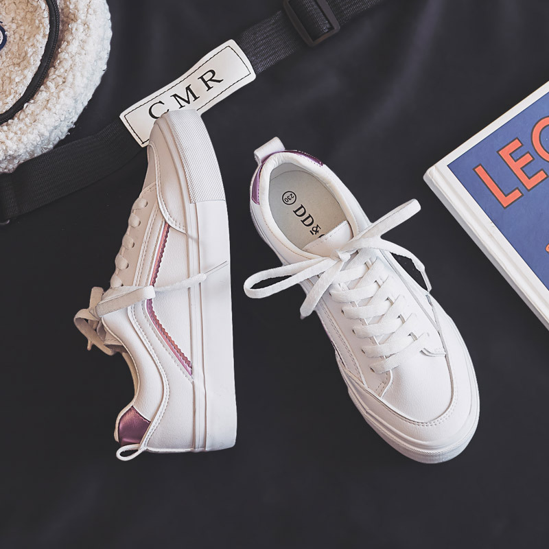 Women's Shoes 2020 New Spring Trend Women Vulcanized Leather Platform Shoes Comfortable Sports Casual Women Sneakers White Shoes