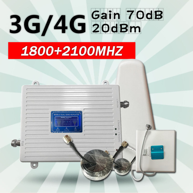 DCS 1800 WCDMA UMTS 2100 Dual Band Cell Phone Cellular Signal Repeater Amplifier  Mobile Phone Signal Booster  for 2g 3g 4g