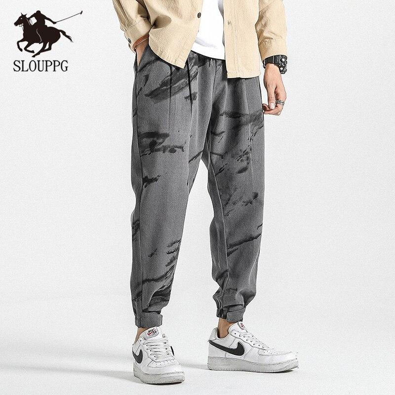 Hip Hop Harem pants Mens oversize Chinese Style Joggers Pants Men Sweatpant Stitching color Casual Trousers men 2019
