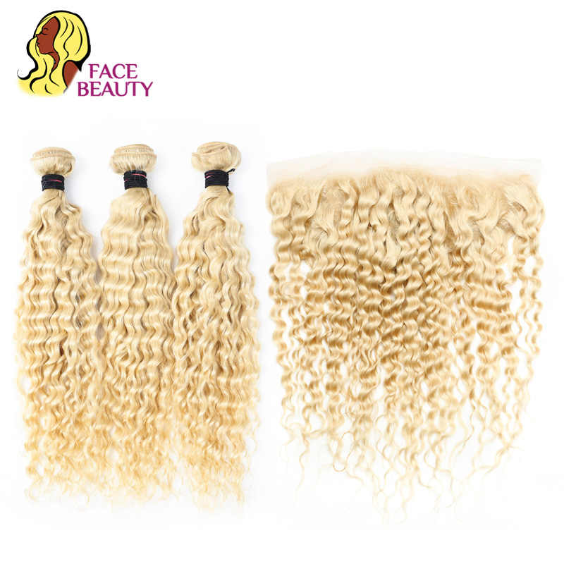 Facebeauty sarışın % 613 Remy insan saçı brezilyalı derin dalga 3/4 demetleri ile dantel Frontal kapatma 13*4 ücretsiz orta bölüm saç