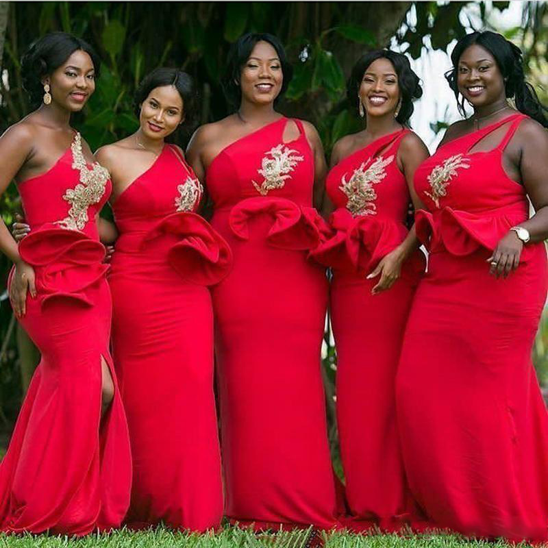 2020 Red One Shoulder Mermaid African   Bridesmaid     Dresses   Ruffles Waist Appliques Beaded Gold Maid of Honor Gowns Plus Size