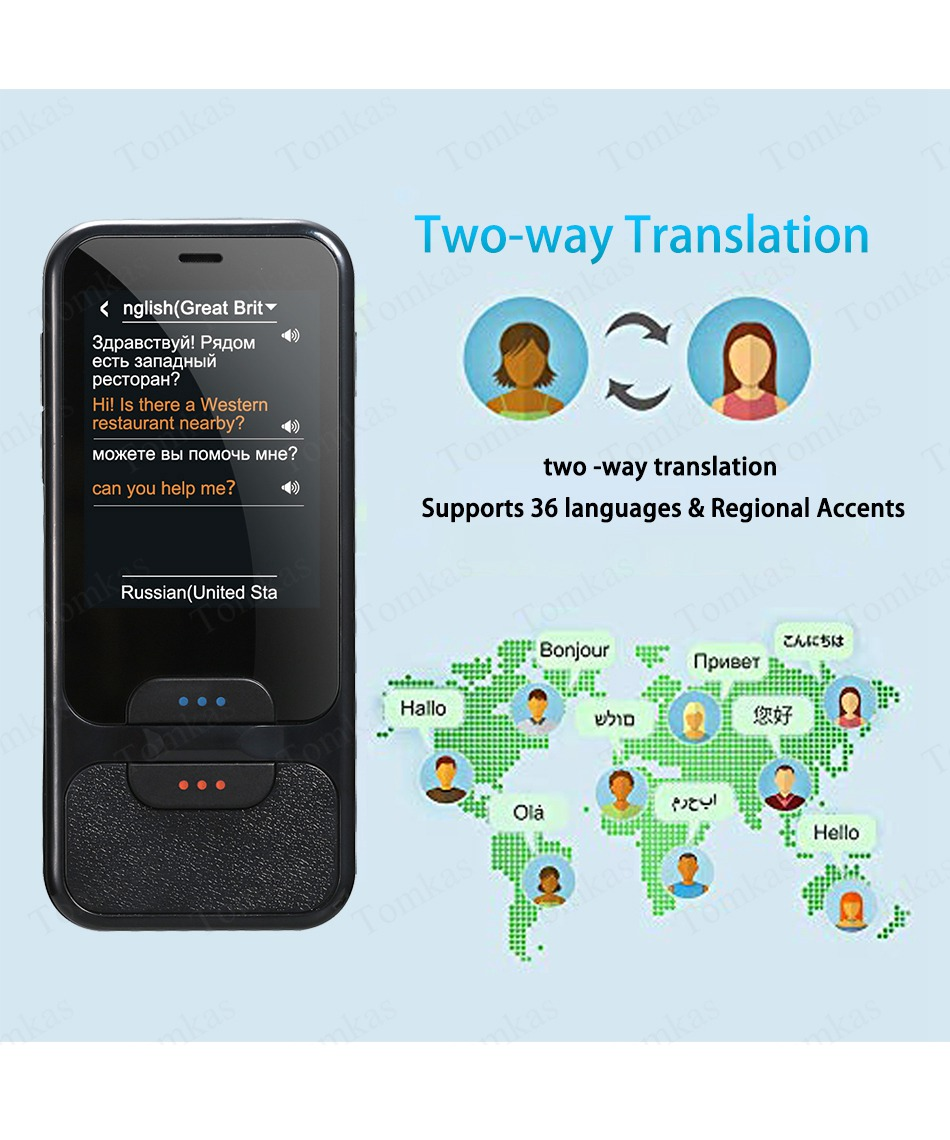 TOMKAS AI Smart Pocket Language Translator with 2.4 Inch Touch Screen and  WIFI for Multi language Voice and Photo Translation in Real Time 10