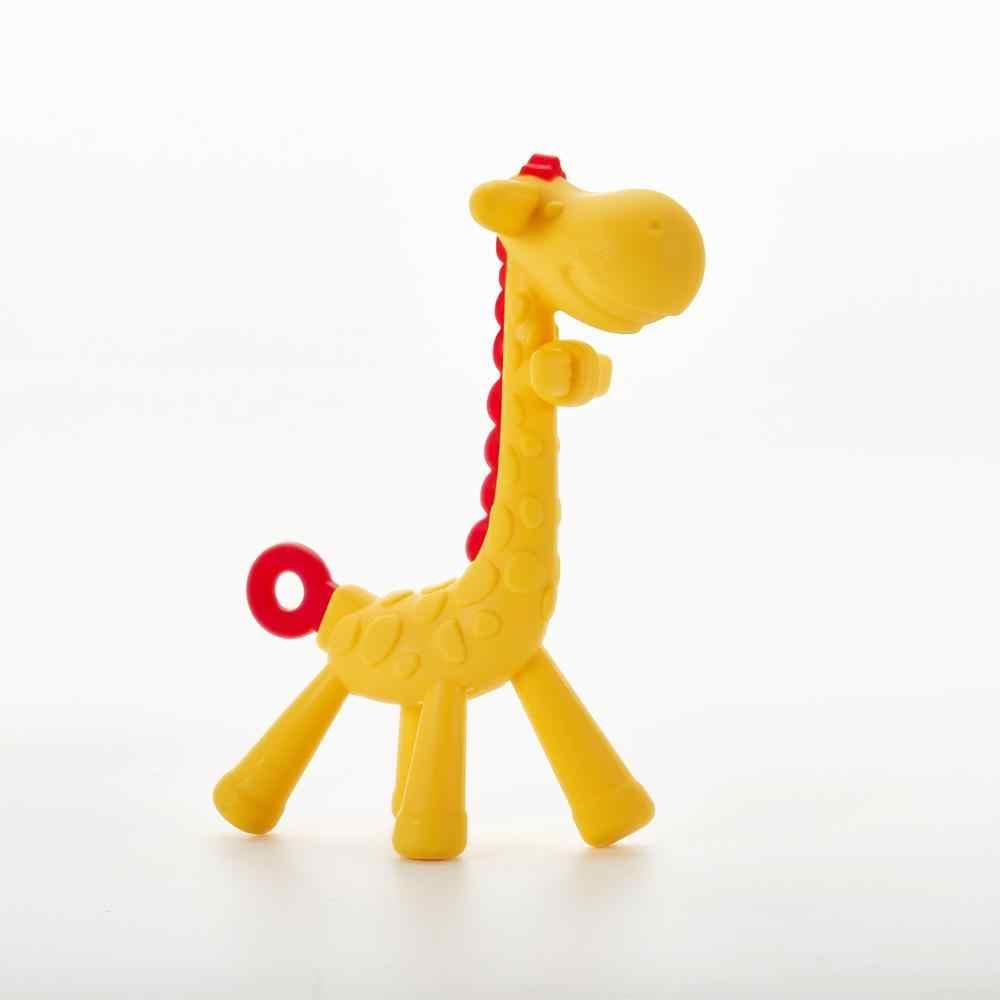 Dentes de bebê que fawn molar haste girafa para morder o mordedor safty bebê mordedor chupeta dos desenhos animados dentição silicone enfermagem