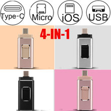 4 In 1 OTG USB Flash Drive 256G 32 64G 128G Memori Tetap Tipe-C Pena drive untuk Samsung S8 S9 S7 S6 Edge iPhone X 8 7 Plus USB 3.0(China)