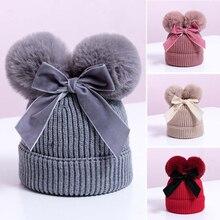 Двойной помпоном детская зимняя шапка детские вязаные колготки для маленьких девочек, теплая шапка утепленная детская Младенческая шапочка Кепки девочек шляпа-шлем Enfant