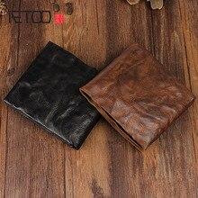 AETOO Handgemachte retro voller schaffell geldbörse brieftasche kurzen absatz männer und frauen brieftasche kreuz abschnitt jugend Vintage brieftasche