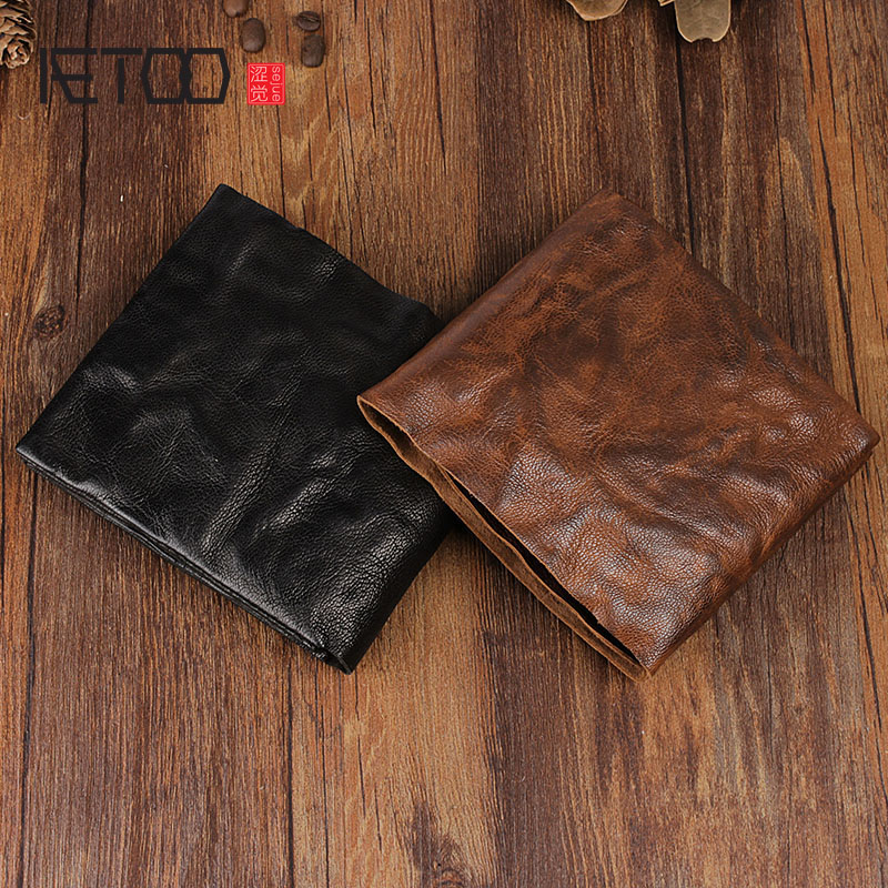 AETOO Handmade Retro Full Sheepskin Purse Wallet Short Paragraph Men And Women Wallet Cross Section Youth Vintage Wallet