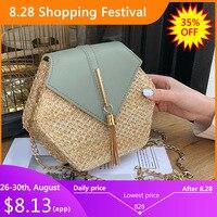 Новая мода Hexagon Mulit стиль соломы + pu сумка сумки женская летняя плетеная Сумка из ротанга ручной работы тканая пляжная bolsa feminina