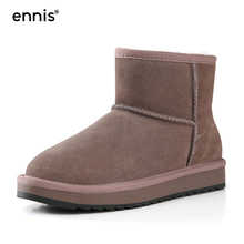 Winter Shoes Snow-Boots Flat-Heel-Boots Women's Ladies ENNIS Ankle SN01 Classic Suede