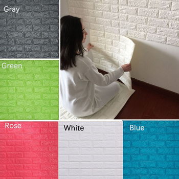 1PCS 3D Stone Brick Self-adhesive Wall Sticker Panel Waterproof Soft Foam Wallpaper image