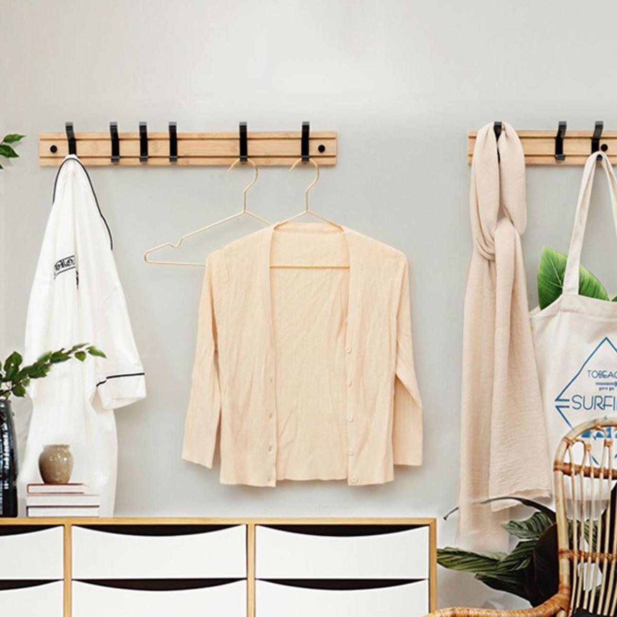 Nordic Fashion Style Bedroom Furniture Coat Rack Clothes Hanger Hooks Living Room Closet Bamboo Hat Racks Coat Hanger Wall Hook 4