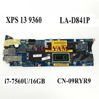 NEW LA-D841P i7-7560U 16GB RAM FOR Dell Xps 13 9360 Laptop Notebook Motherboard CN-09RYR9 9RYR9 Mainboard 100%tested 1