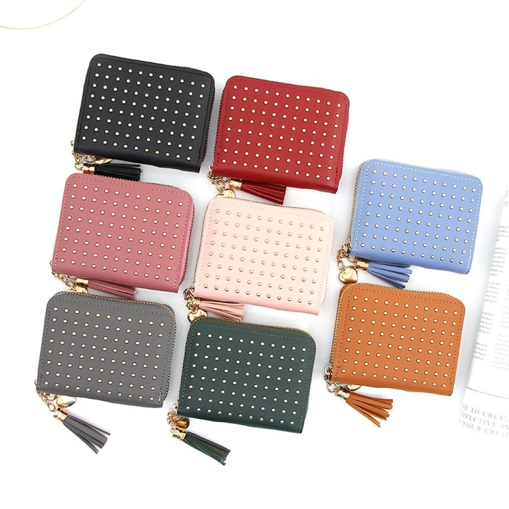 Fashion Trend Solid Color Short Tassel Rivet Dark Leather Card Holder Wallet Carteira Portfel Wallets Bag Portefeuille Femme