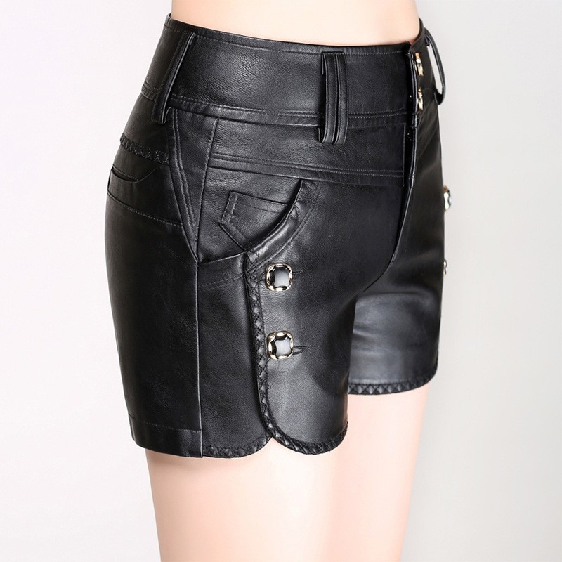 New Casual Shorts Women 2020 Autumn Winter Korean Slim PU Faux Leather Shorts Ladies High Waist Button Large Size Bottom Female