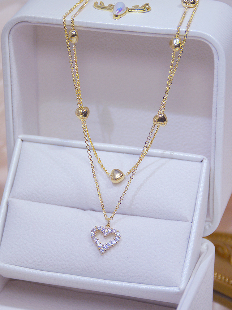 Jewelry Charm Zircon Clavicle-Chain Heart-Necklace Wedding-Pendant Elegant Real Gold