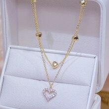 14k, покрыто настоящим золотом, двойной слой с подвеской в форме сердца с блестящими украшениями AAA Циркон женская цепочка с кулоном, элегантн...