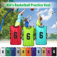 12 PCS Kid's Football Pinnies Quick Drying Soccer Jerseys Youth Sports Basketball Team Training Numbered Bibs Practice Vest