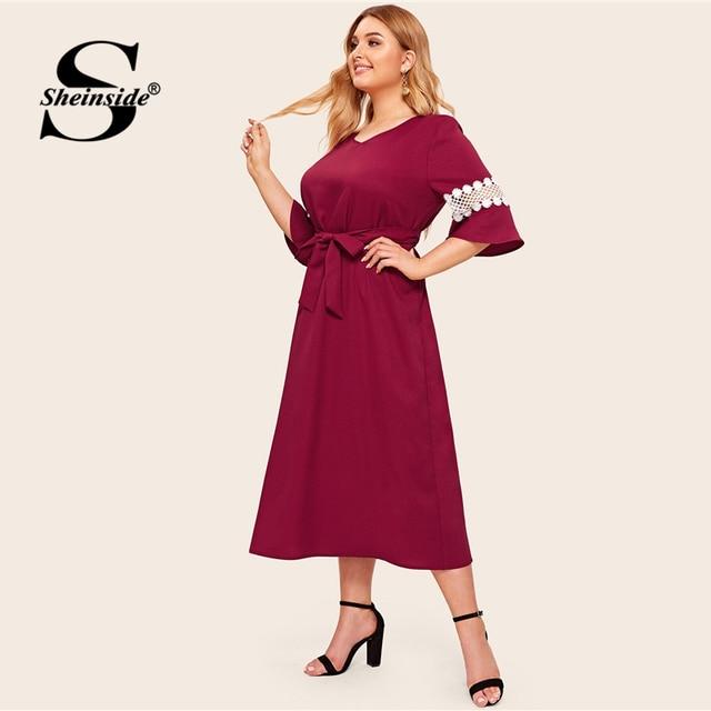 Sheinside Plus Size Elegant Lace Patchwork Half Sleeve Dress Women 2019 Autumn V Neck Belted Dresses Ladies Straight Dress 3