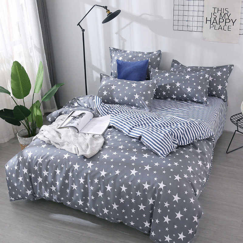 Star 4pcs Girl Boy Kid Bed Cover Set Cartoon Duvet Cover Adult Child Bed Sheets And Pillowcases Comforter Bedding Set 2TJ-61003