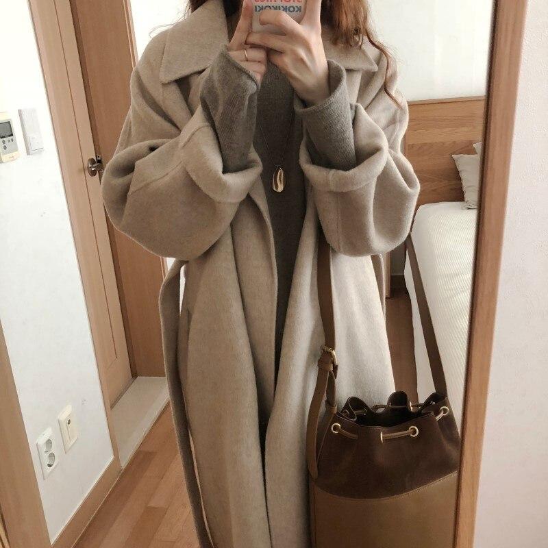19 Winter Oversize Long Trench Coat Women Cashmere Coat Korean Lady Windbreaker Outwear Streetwear 56