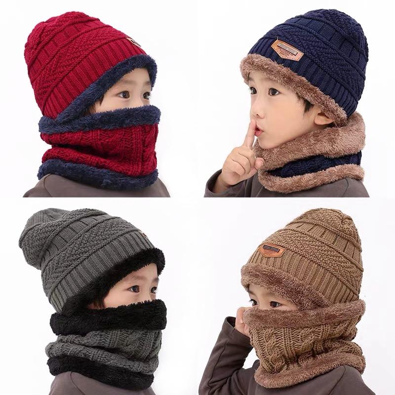 2019 New Winter Children Knitted Hat Ring Scarf Sets Kids Warm Baby Plus Velvet Thick Soft Cap Boys Girls Fleece Lining Beanies